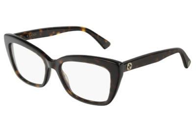 Gucci GG0165O 005 havana havana transpa 53 Women's Eyeglasses