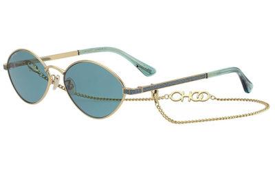 Jimmy Choo Sonny/s OGA/MT LTGOLD TEAL 58 Women's Sunglasses