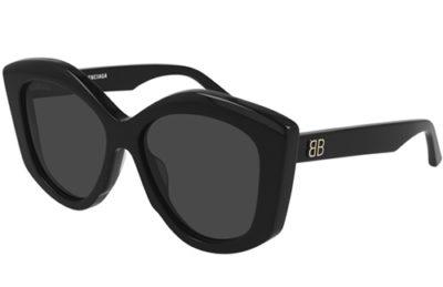 Balenciaga BB0126S 001 black black grey 56 Women's Sunglasses