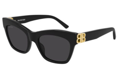 Balenciaga BB0132S 001 black gold grey 53 Women's Sunglasses