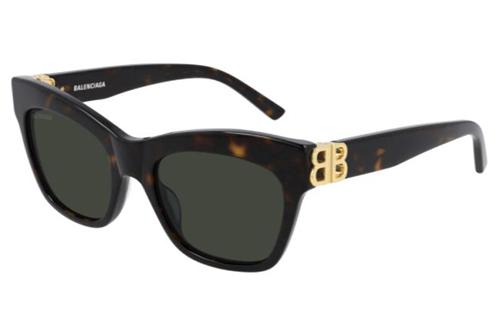 Balenciaga BB0132S 002 havana gold green 53 Women's Sunglasses