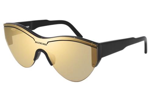 Balenciaga BB0004S 006 black black gold  Unisex Sunglasses