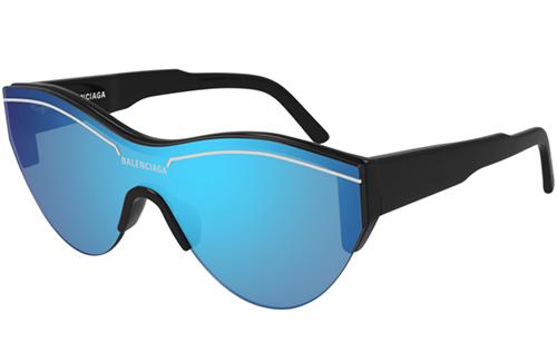 Balenciaga BB0004S 009 black black light blu  Unisex Sunglasses
